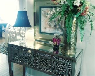 Beautiful mirrored 4 drawer wall table