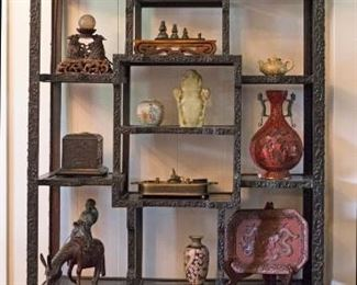 Gorgeous carved Chinese cabinet, 96 x 38 in