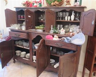 huge cupboard and china
