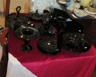 big group of black glass