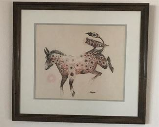 """The Indian Pony"" by Orlin Helgoe. Original drawn on Pellon, from the Sangre de Cristo Arts Center."