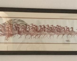 """Geese"" by Orlin Helgoe. An Original drawn on Pellon from the Sangre de Cristo Arts Center."