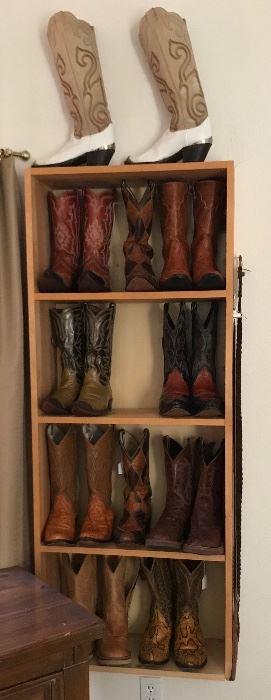 Exotic Leather Cowboy Boots, Men's size 10-10.5, Women's size 7-8.