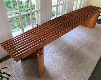 Fabulous handcrafted long pine bench-one of a kind