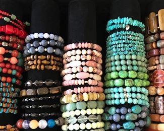 Lots of stone bracelets