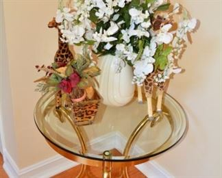 Round Glass Top Brass Table with Swans