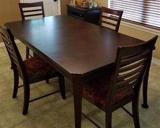 "Lane Dining Table and 4 chairs with leaf . Table measures 78"" long 42"" wide 30"" tall. Leaf 18"" wide."