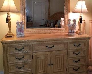 "American Drew 8 drawer 2 door Dresser with Mirror.Dresser measures 70""wide19""deep36.5""tall. Mirror measures 44""wide 44"" tall."