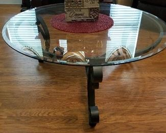 """Round glass and metal coffee table. 38""""diameter 16""""tall"""