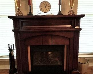 "Amish Made Mantle 46""wide 19""deep 47""tall. Heat Surge Electric Fireplace."