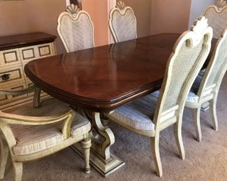 Vintage Dining Table w 2 Leaves, 2 Arm Chairs and 6 Side Chairs, Matching Buffet/Server and Lighted Hutch