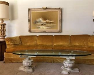 Vintage Heritage Gold Sofa, Oval Glass w Double Pedestal Coffee Table, Oversized Vintage Lamp, Octagon Table