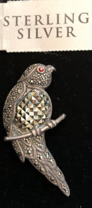 Sterling and Marcasite Bird Brooch