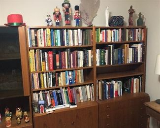 Books and mid century modern display cabinets/book shelves