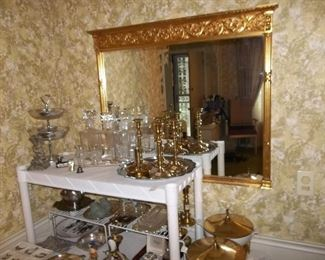 brass mirror and serving pieces