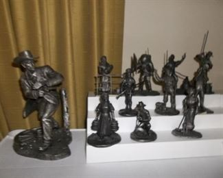 pewter franklin mint figurines and Wyatt Erp large pewter figurine