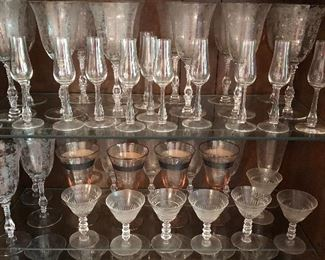 Many patterns of glass and crystal stemware