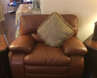 Leather 3 cushion couch with matching leather chair and attached ottoman/ chair 3 pieces - will sell seperate