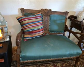 Beautiful Vintage Carved Wood/Upholstered Love Seat!