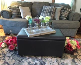 Beautiful Blue/Olive Green Plaid Couch, Faux Leather Table/Storage Chest & Fun Decor!