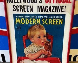 """Vintage F. Earl Christy Cover Art """"Modern Screen"""", Framed"""