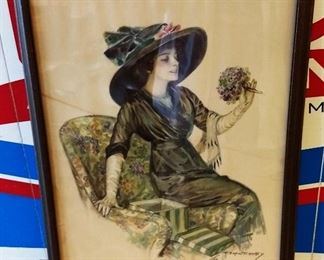 Antique F. Earl Christy Print, Framed