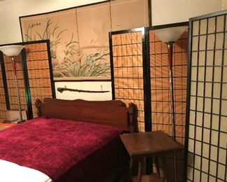 Room Divider Screens, Cherry Bedroom Suite.  Antique, Barley twist antique table.  Modern Lamps.