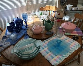 Vintage Kitchen items, including Pyrex, satin glass, Hall, etc.