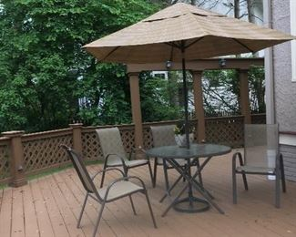Patio table w/ 4 Chairs, Umbrella & stand