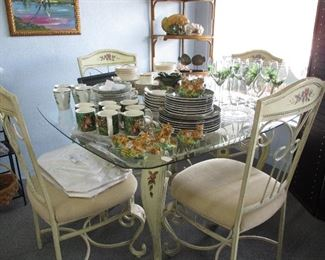 Table and chairs with matching baker's rack