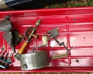 vintage hand drill, sifter, vises