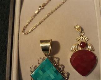 sterling ankle bracelet, sterling pendant (red one sold)