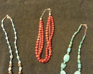 sterling and turquoise necklaces, sterling and red necklace