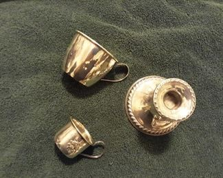 sterling baby cups, sterling single candleholder