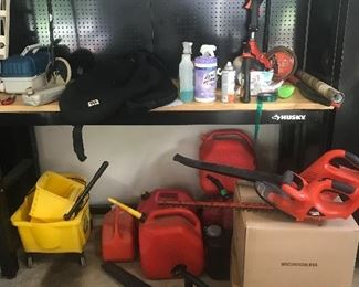 Tools, saws, pressure washer, shopvac, tile saw, dump cart, generator, ladders, edger, husky tool boxes and cabinets.