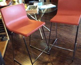 (2) IKEA leather barstools