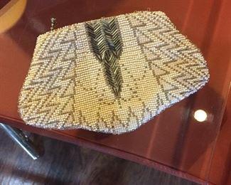 Beaded sash bag with silver bugle beads