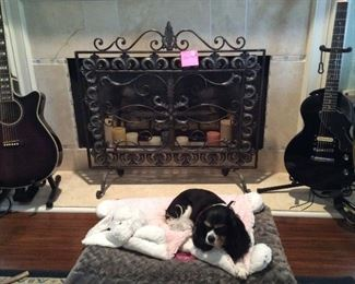 French-made wrought-iron fireplace screen (adorable pup not for sale!)