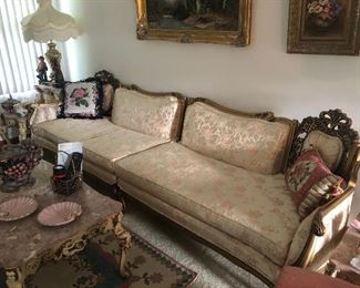 extra long antique french provincial sofa