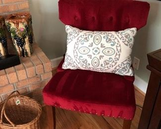 pair of red velvet side chairs