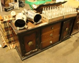 Theater stage lights, vintage Towne Club bottles, Chocolate Soldier Bottles, Champay bottles, plus a 100 + other bottles.