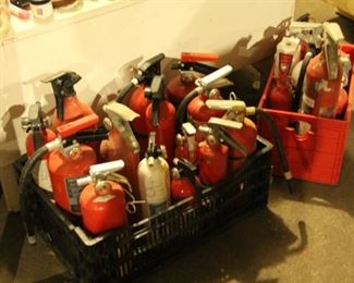 Fire extinguishers Over a 100 for sale $5 each. Most are the refillable type, some are full or use in a art project / cover a wall for a fire department theme. 10 for $30.