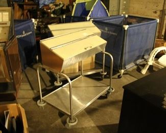 Laundry carts $20 or buy 3 for $50 / Vintage Restaurant $150 each diner tray carts with silverware bin. Very cool for a cafeteria or food hall concept or BBQ joint.