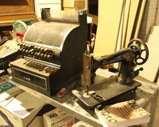 $50 Vintage Cash registers, National and Singer Sewing machine