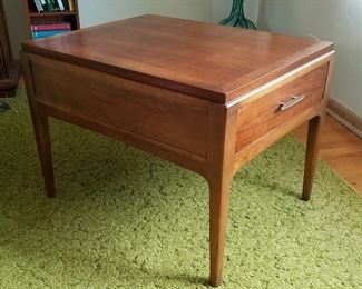 Mid Century Modern, walnut, end table with one drawer by Lane.