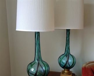 """Pair of tall Mid Century Modern Murano  turquoise blue/green swirl art glass table lamps.  3-way light.  39"""" tall (42"""" with shade), approx. 10"""" wide."""