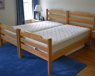 Pair of maple twin beds