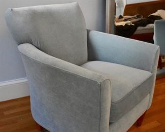 One of a pair of blue velvet chairs by Rowe Furniture