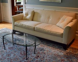 Rowe Furniture sofa and glass top coffee table