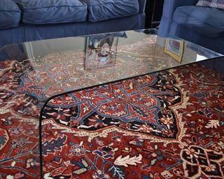 Slumped glass table